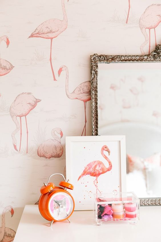 flamingo kader behangpapier