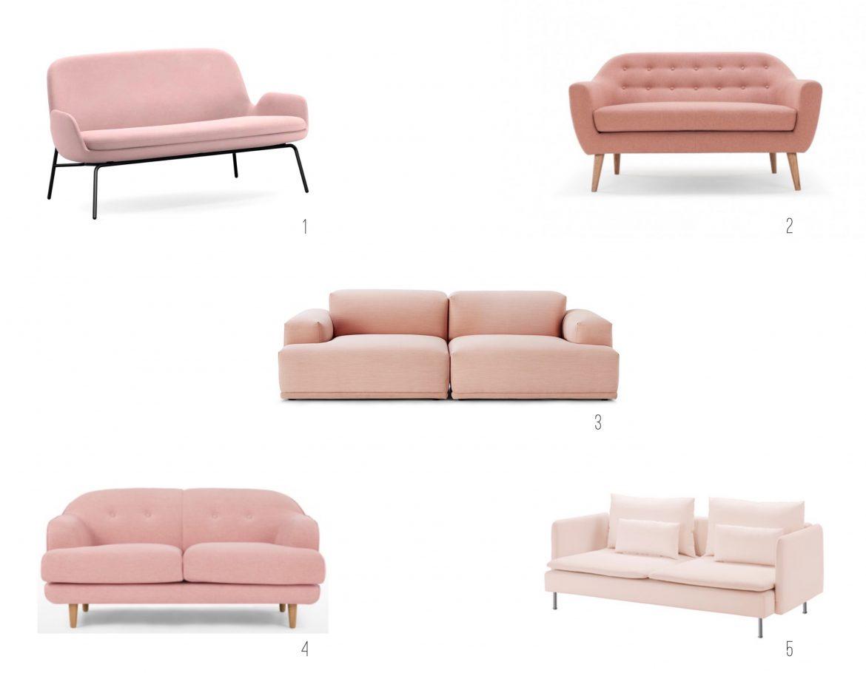 Inspiratie interieur 5 roze sofa's